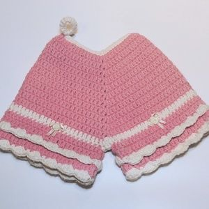 VTG Pink Shorts Crochet Pot Holder Nursery Decor